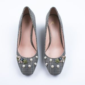 JCREW Block-heel pumps in embellished plaid